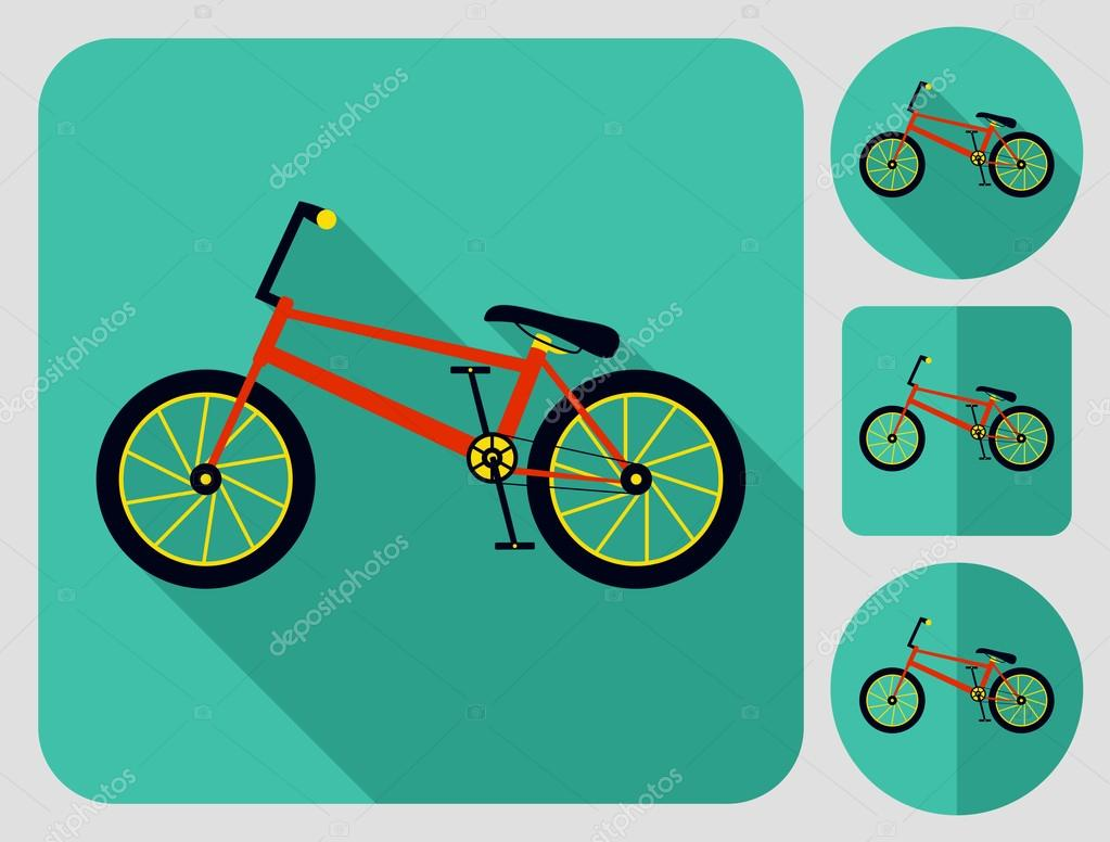 BMX Fahrrad-Symbol. Wohnung langen Schatten Design. Fahrrad Icons ...