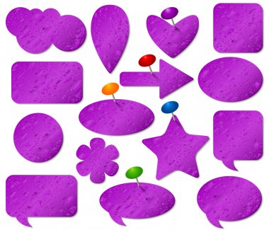 Purple stickers set with misted glass effect and colored pushpins.