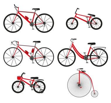 Six kinds of bicycles: mountain (or cross-country) bike, road bike, city bike, bmx bike, kids bike and Penny farting bike (or retro, vintage).  Vector illustration.