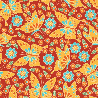 Japanese seamless pattern. Floral and animal elements, butterflies, etc.