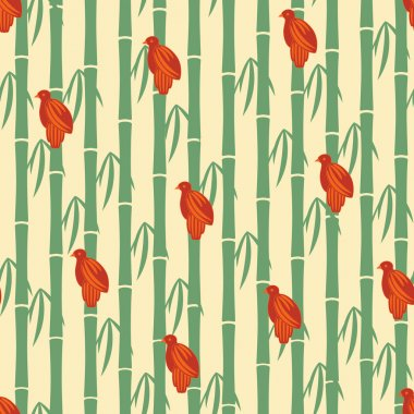Japanese seamless pattern. Floral and animal elements, sparrows, bamboo, etc.