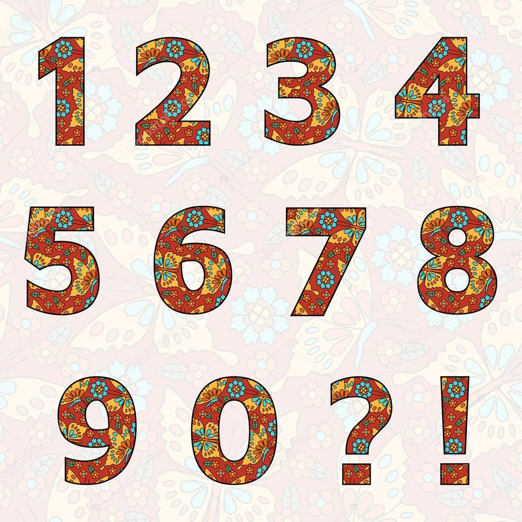 Set Zahlen mit Blumen und Schmetterlingen (Sie können alle Farben ...