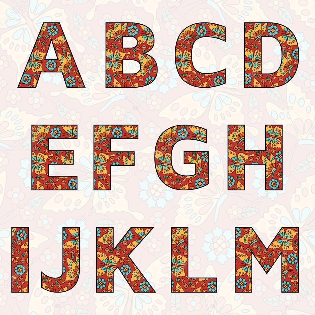 Vector Alphabet mit Blumen und Schmetterlingen (Sie können alle ...
