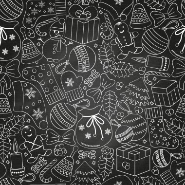 Christmas seamless background with many winter doodles. Greating card. Toys, cookies, snowmen, fir, candies, socks, gifts, bows, snowflakes, stars, hollies, mittens,chalk.