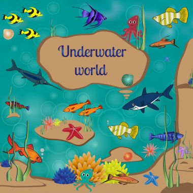Underwater world, cartoon, text, coral reefs beneath the sea, many bright colored fishes, vector illustration