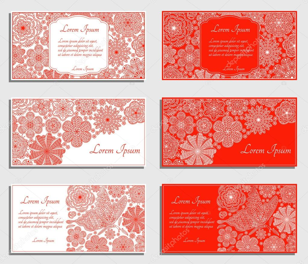Set of red invitation cards with flowers and butterfly. Good for weddings, parties, anniversaries, etc.