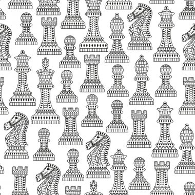 Seamless pattern with all chess pieces. Black and white. Beautiful lace ornament in Indian style. Vector illustration.