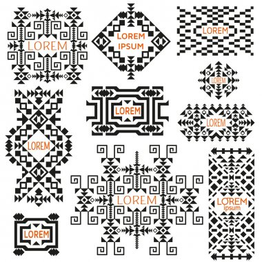 Set of tribal logos. Ethnic style. American Indian or asian motifs. Black vector illustration. Good for frames, borders and like a background. Abstract geometric collection.
