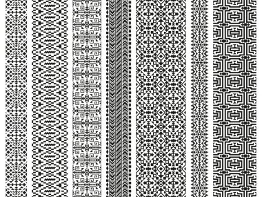 Set of tribal seamless patterns. American Indian or asian motifs. Black vector illustration. Good for frames, borders and like a background. Abstract geometric collection. Stripes in ethnic style