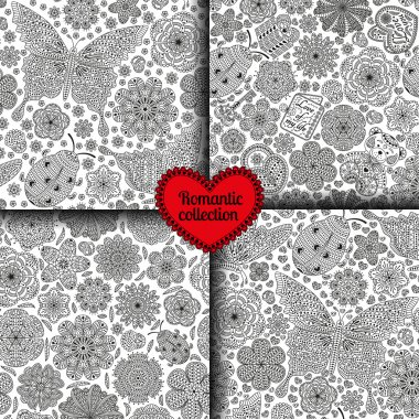 Set of seamless patterns with flowers, ladybugs and butterflies, hearts, cards, bear, gift, and key. Romantic floral backgrounds. Black and white colors. Detailed vector illustration.