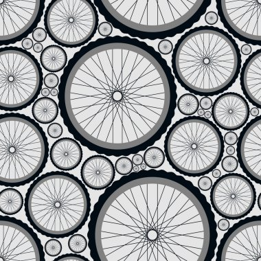 Seamless pattern with bike wheels. Bicycle wheels with tires, rims and spokes. Gray vector illustration.