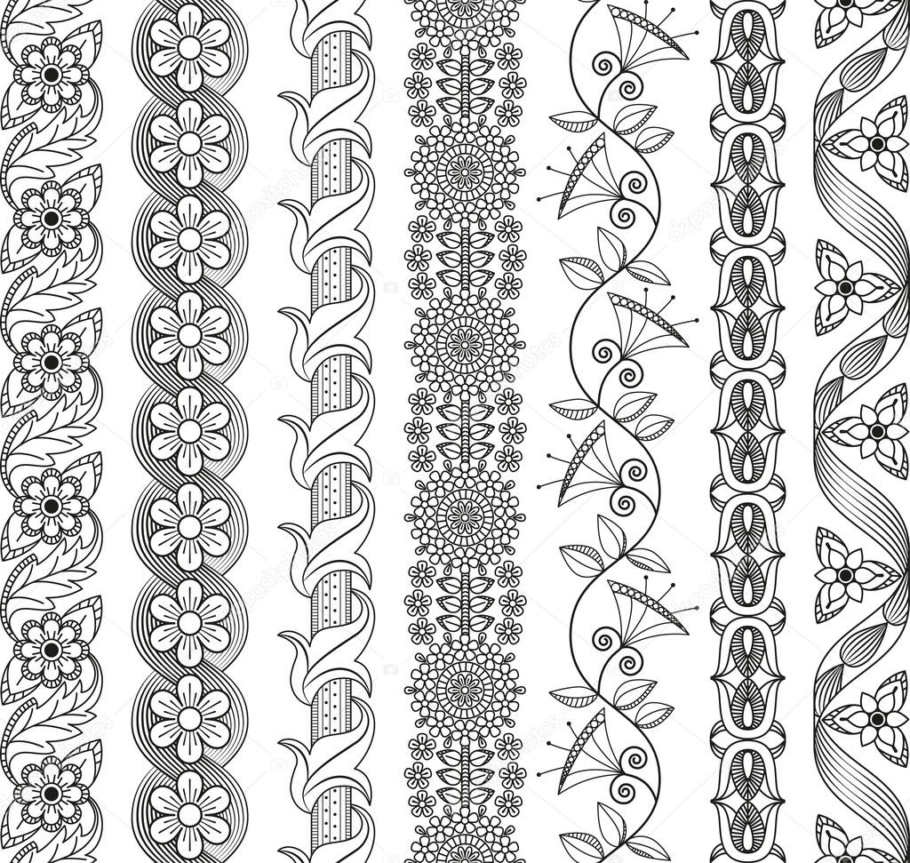 Vector set of floral elements for ethnic decor. Seamless patterns for frames, borders and backgrounds. Detailed decorative motifs. Black and white colors.