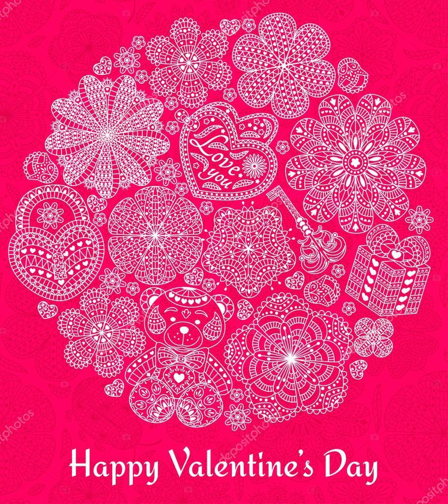 Design of Karte zum Valentinstag. Rosa Muster mit Blumen, Herzen ...