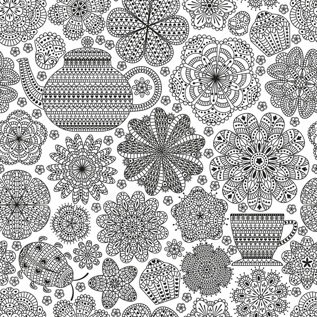 Seamless pattern with teapot, cup, saucer, muffins, floral elements and ladybug. Romantic flower background. Black and white color. Botanic  texture for kitchen wallpaper. Detailed illustration.