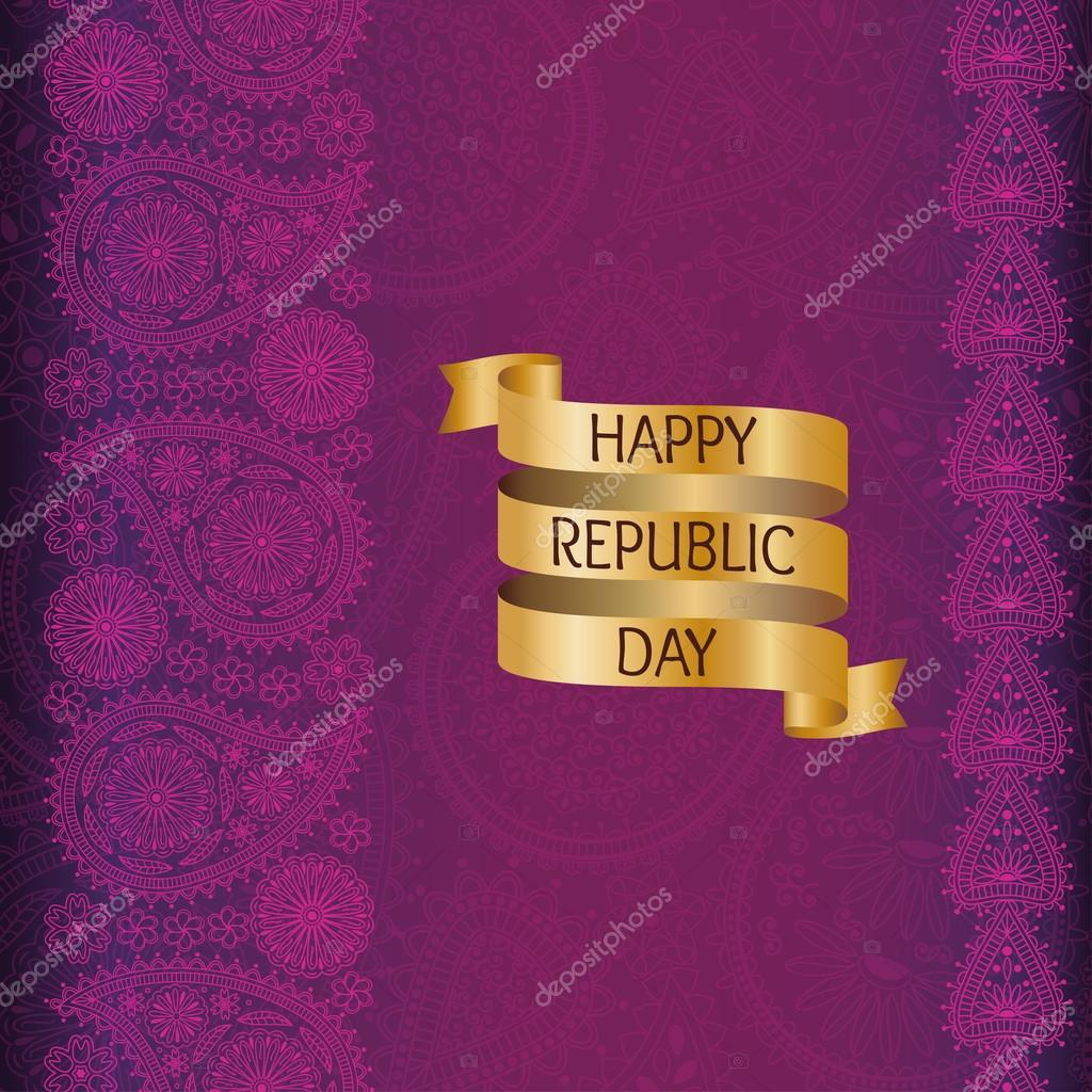 Greeting Card With Paisley Elements Flag Of India Golden