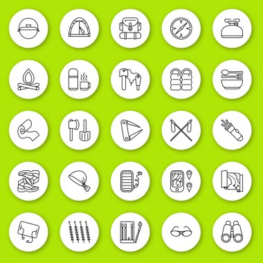 Set of line icon. Travel and tourism, camping and hiking. Contour round icons with shadow. Info graphic elements. Vector illustration, eps 10.