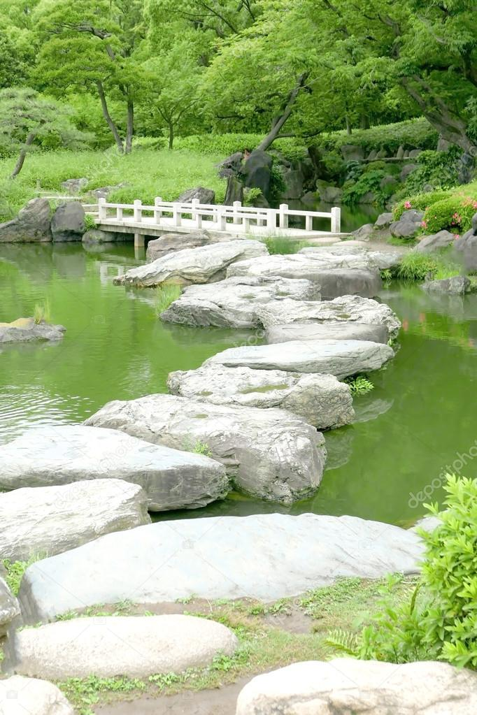 Stone Bridge And Water Pond In Japanese Zen Garden U2014 Stock Photo