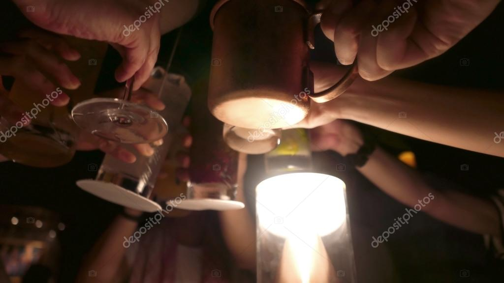 drink gathering with friends at night