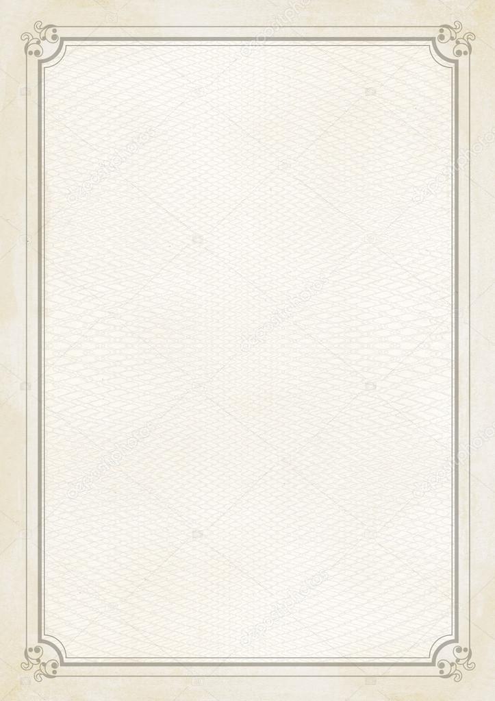 明るい茶色とベージュ枠線 A4 サイズの証明書のレトロな紙の背景 ストック写真 169 Cougarsan