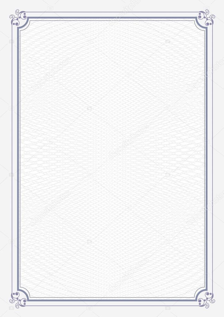 Blauen Rahmen A4 Größe Zertifikat Grunge retro Papierhintergrund ...