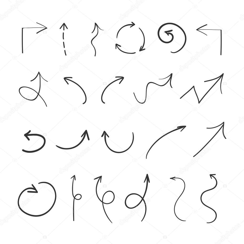 Dessin De Fleche collection de flèche de craie de dessin sur fond blanc — image