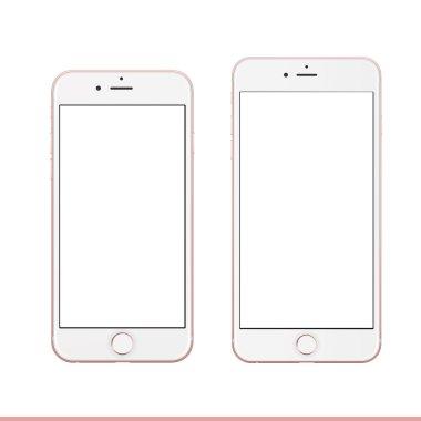 Mobile looks like Rose gold Apple iPhone 6s Plus mockup template