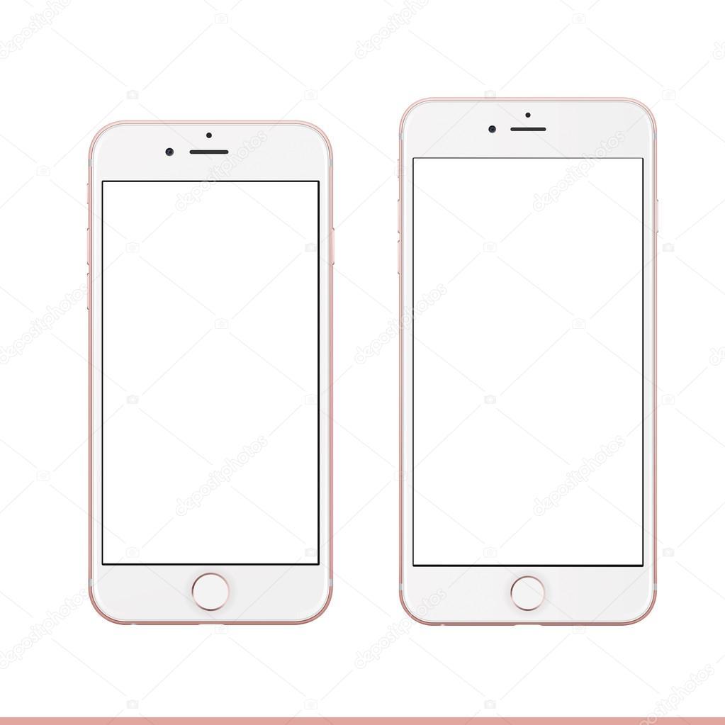 Mobile looks like Rose gold Apple iPhone 6s Plus mockup template ...