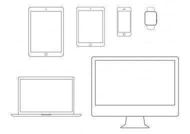 mobile, tablet, notebook, computer line icon set