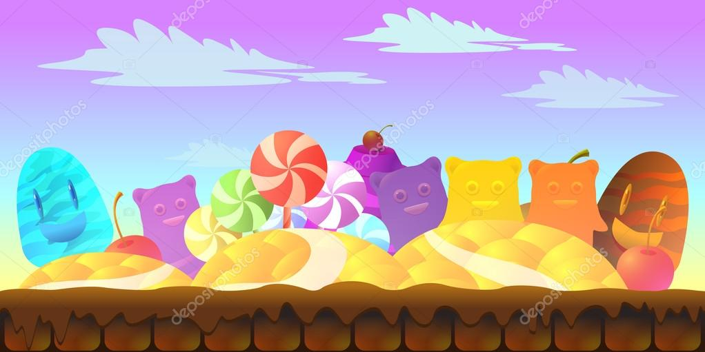 Cartoon fairy tale landscape. Candy land illustration for game design.