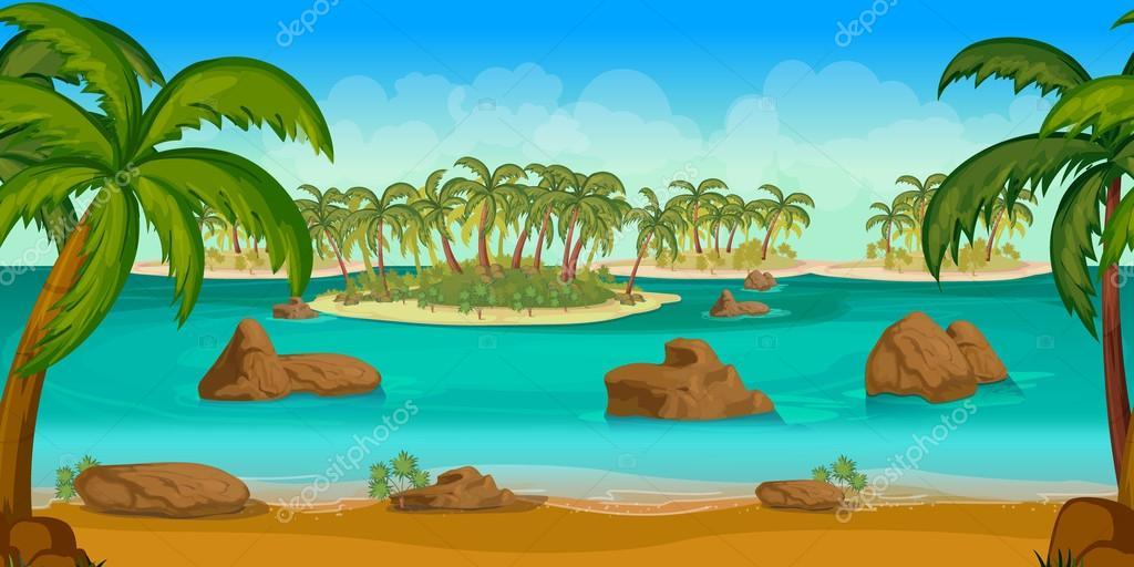 Dibujos Playas Con Palmeras Hermosa Playa Tropical Ilustración