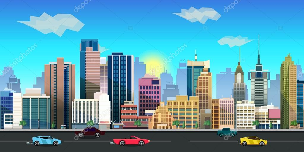 City Game Background 2d Application Vector Design Stock Vector