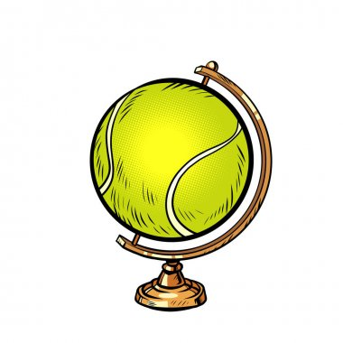 Globe international tennis ball sports equipment comics illustration drawing icon