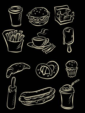 Snacks street food sketch hand drawing collection set icons symbols comic cartoon retro style drawing icon