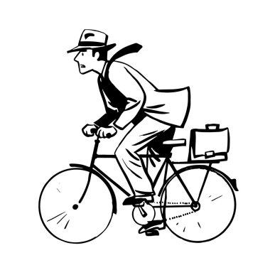 businessman quickly rides Bicycle line art retro sketch