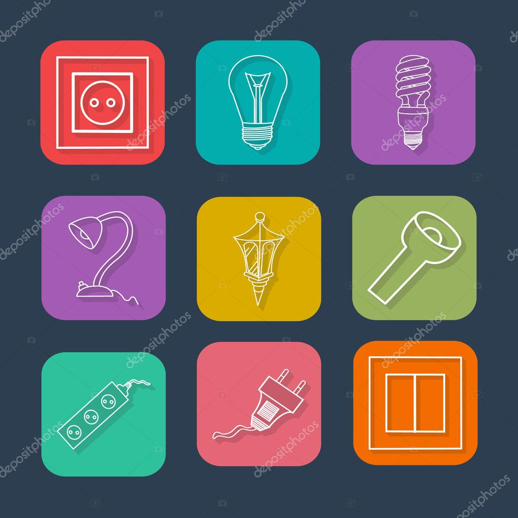 Collection Flat Icons With Long Shadow Electrical Devices Symbols