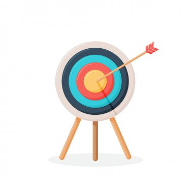 Target with arrow, standing on a tripod. Goal achieve concept. Vector illustration isolated on white background. Vector illustration icon