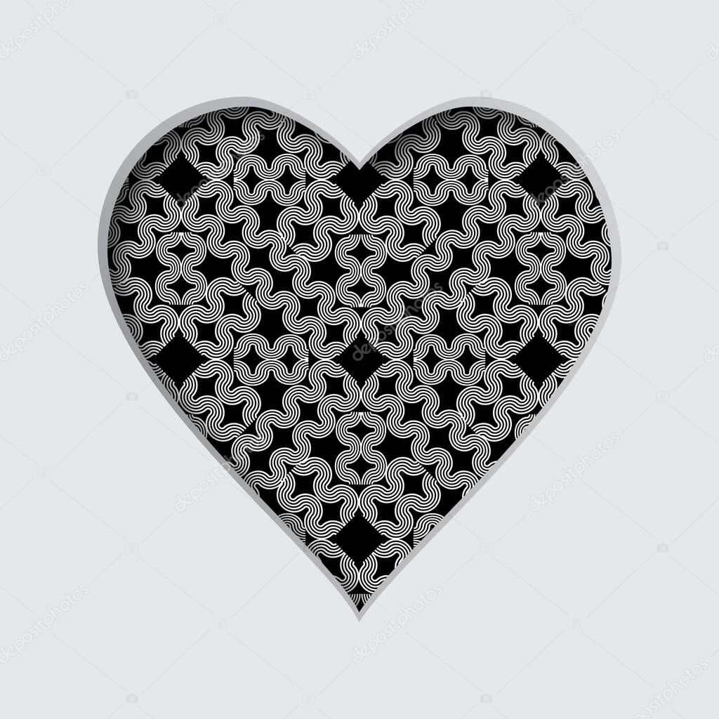 Vector illustration with a cut out heart and with an abstract pattern in the background icon