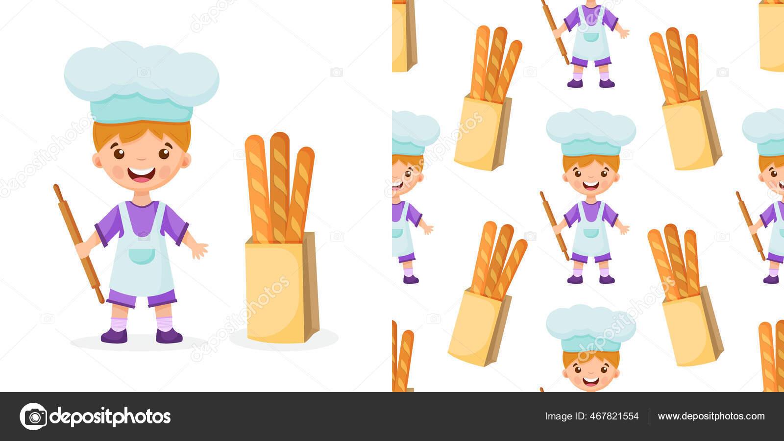 Modèle d'illustration de chef sur fond isolé. Pattern boulanger garçon.  Modèle de cuisinier illustration d'un garçon. 32
