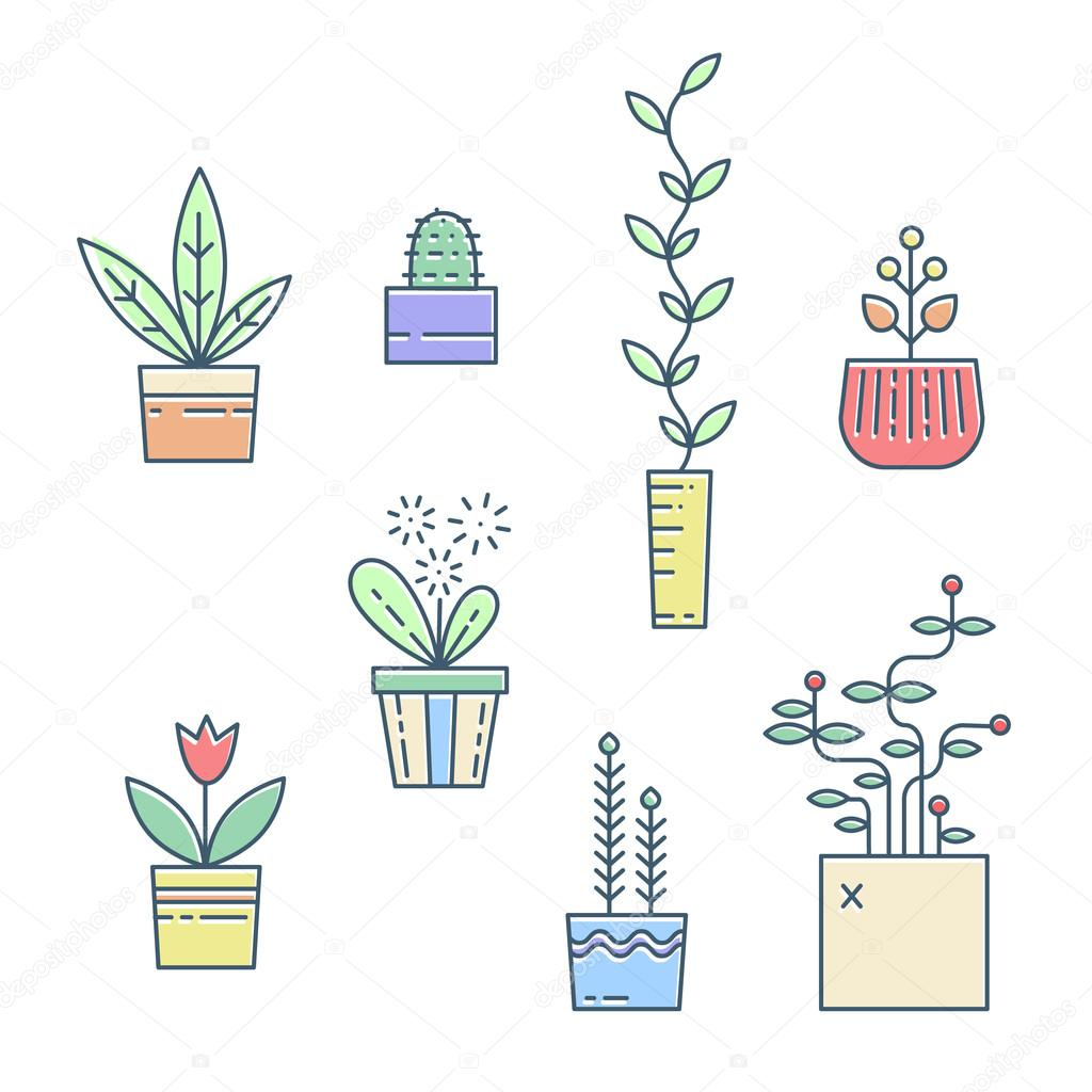 Line house plants icons.