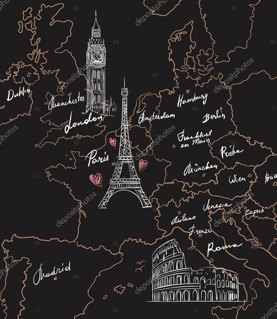 Hamburg Karte Sehenswurdigkeiten.Karte Mit Sehenswurdigkeiten Europas Auf Blackboard