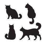 Kočky sady, vektorové siluetu