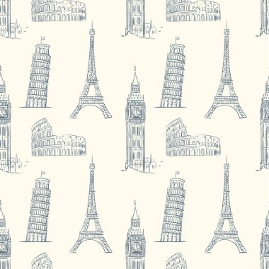Vintage seamless pattern with sights of Europe.