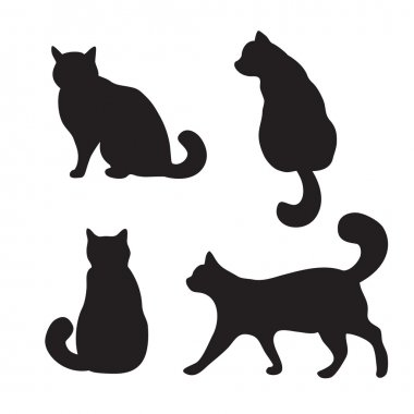 Cats set, vector silhouette