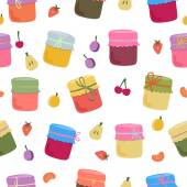 Photo Seamless pattern with home-made jams and fruits.