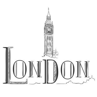 Hand drawn illustration with Big Ben. London