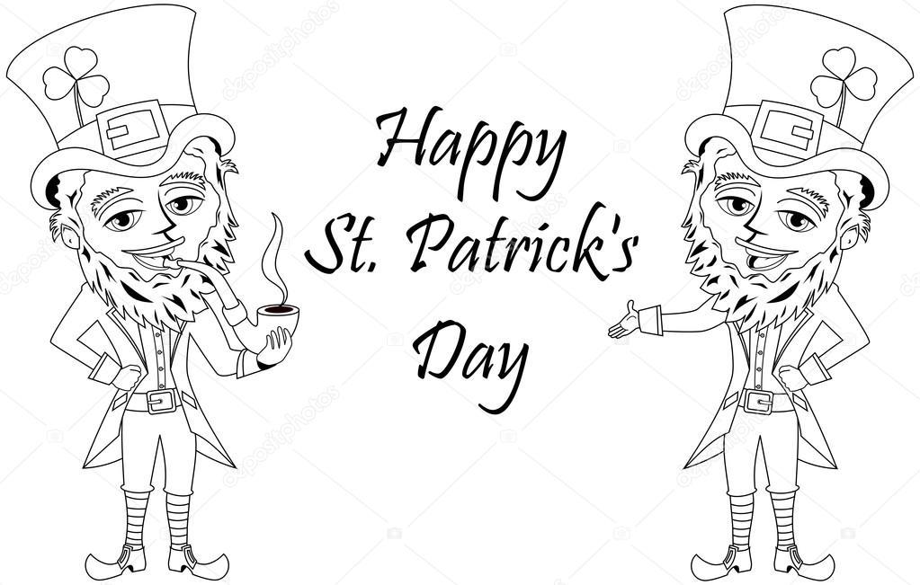 Pipa St Patrick o San Patricio para colorear libro aislado — Archivo ...