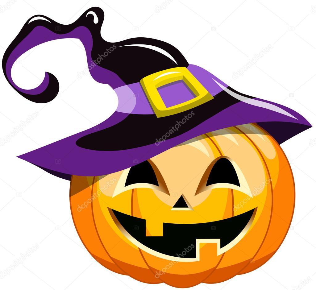 Calabaza De Halloween De Dibujos Animados Sombrero Bruja Aislado - Calabaza-hallowen