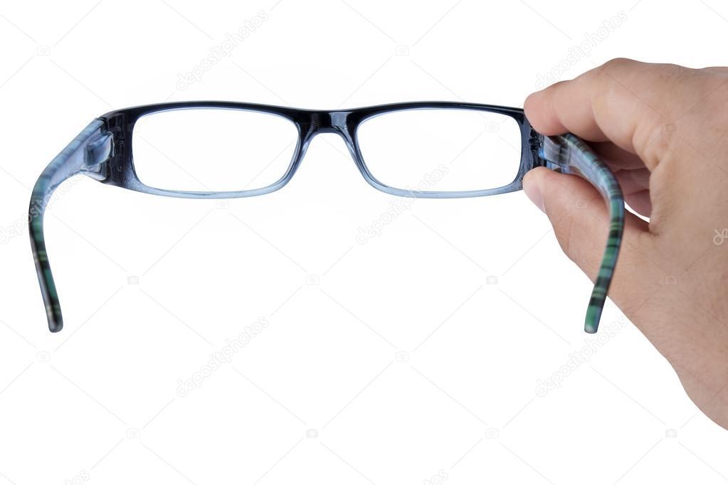 04749cba84073 mão segurando óculos ou óculos com foco — Stock Photo © canbedone ...