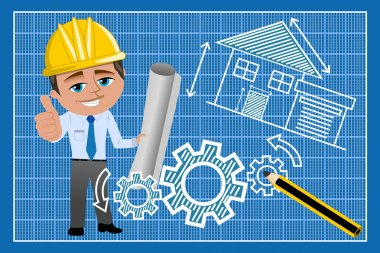 Architect or engineer with thumb up against technical drawing on blueprint