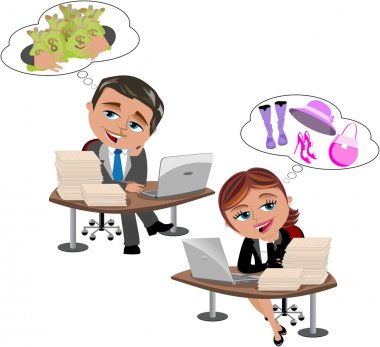 Businessman and businesswoman daydreaming isolated